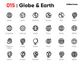 Set of Globe Line Unified Icons. Includes World, Earth, Planet, Europe, Asia, America and other. Editable Stroke.
