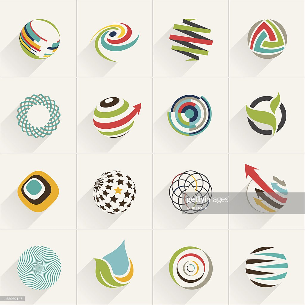 Set of globe web icons and vector logos