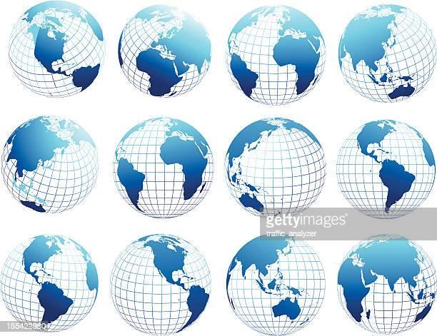 illustrazioni stock, clip art, cartoni animati e icone di tendenza di set di globe - filo metallico