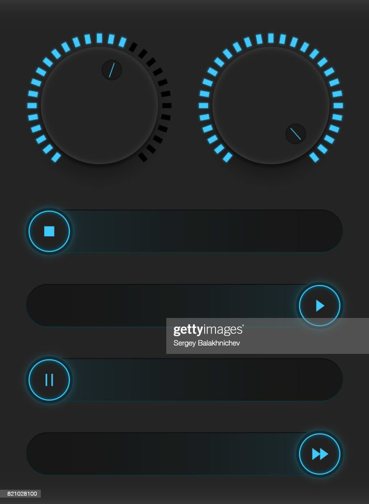 Set of glowing blue buttons and sliders. Neon style. Control user interface. Rubber and metal switches. Adding and decreasing the sound parameters. Vector illustration
