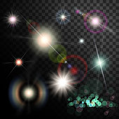 Set of glowing light effect. Star flash and spangles on transparent background.