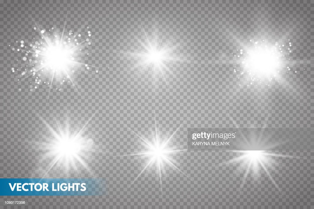 Set of Glowing Light Stars with Sparkles.
