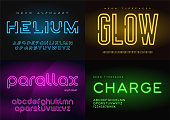 Set of glowing neon vector typefaces, alphabets, letters, fonts, typography