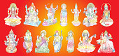 Set of Gods for Indian festival, Goddess Durga, Lord Rama and Hanuman. Lord Ganpati or Ganesha, Shiva and Lakshmi his wife. Lord Vishnu,  Saraswati, Devi Parvati  and Lord Murugan, Kali. Vector.