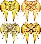 Set of gold bows
