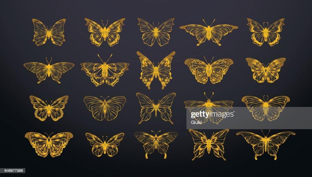 Set of gold butterflies.