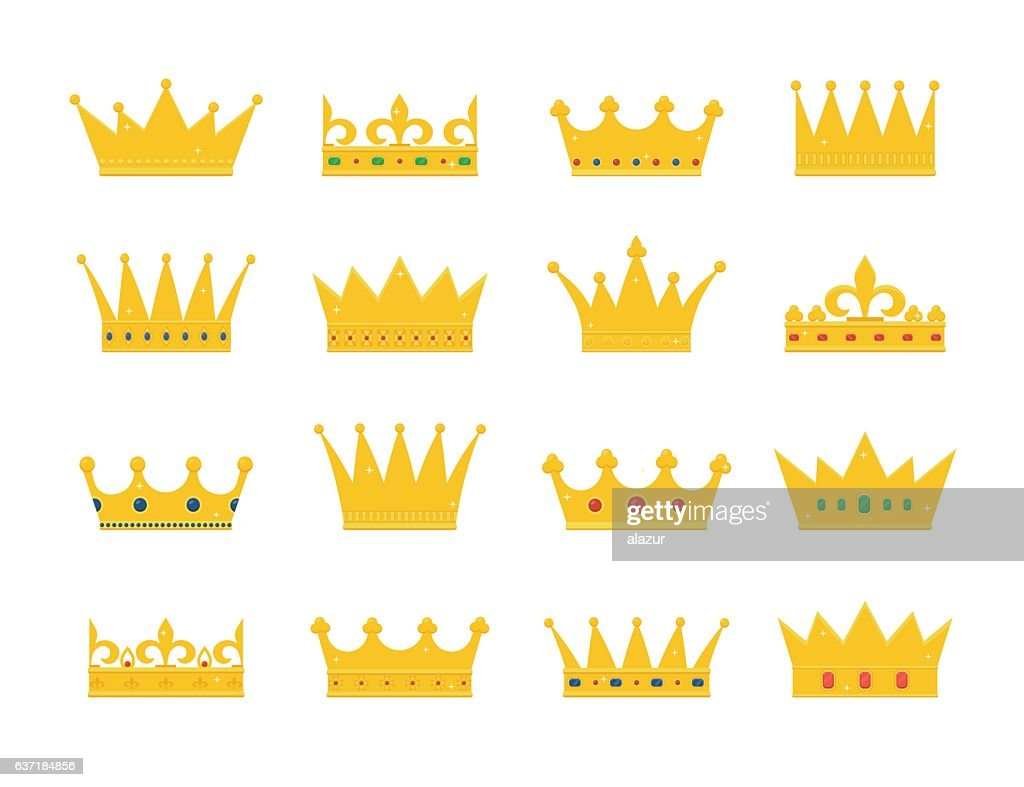 Set of gold crown icons