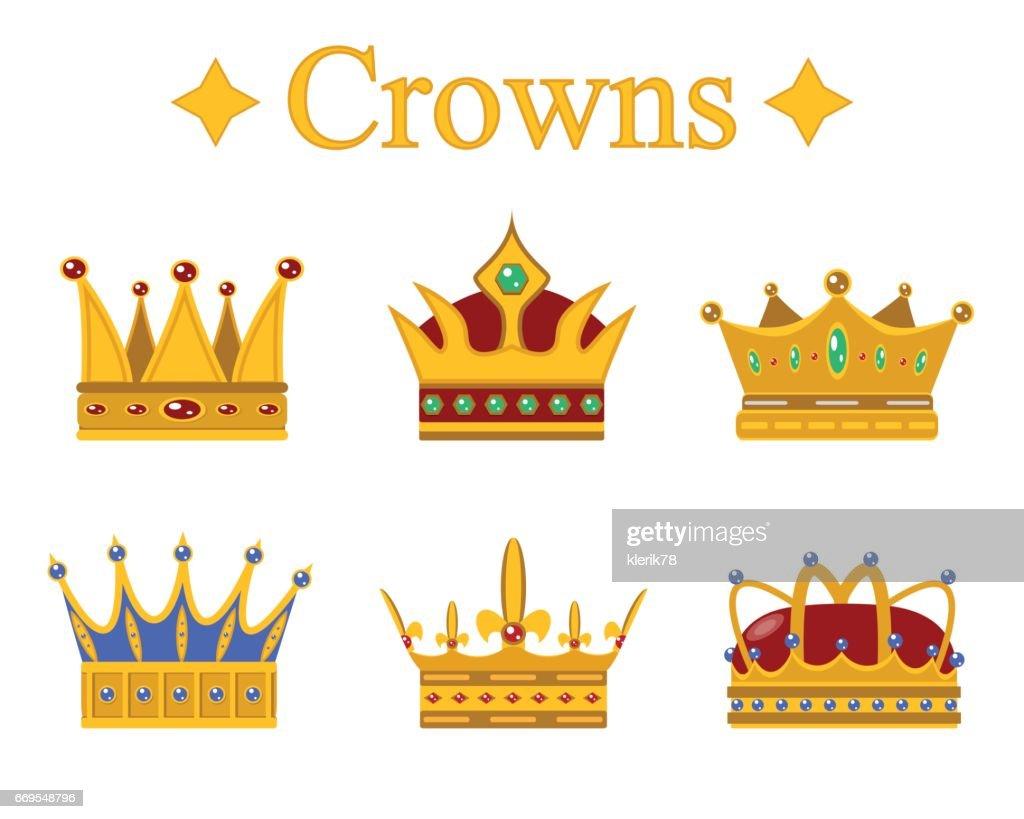 Set of gold king crown or pope tiara.Vector illustration