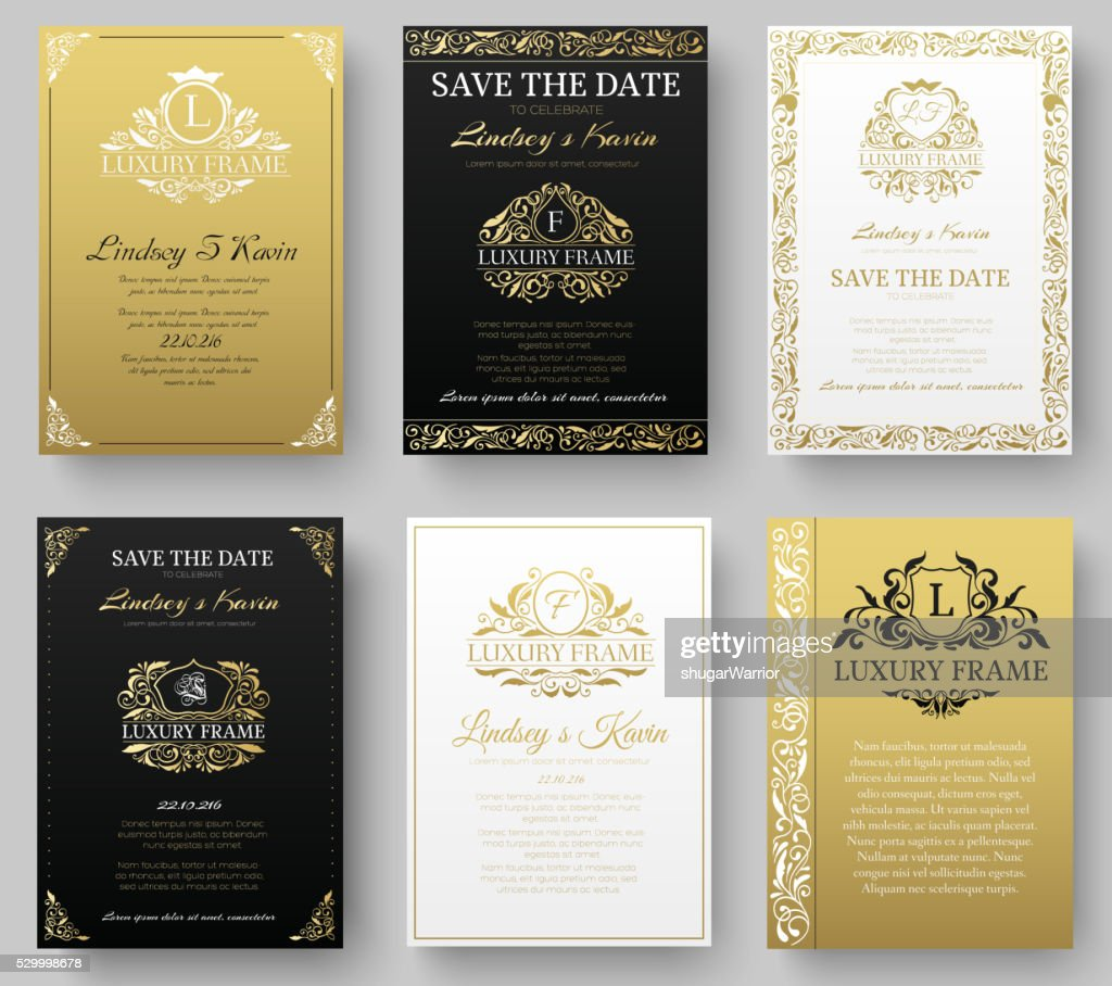 Set of gold luxury flyer pages set with logo ornament