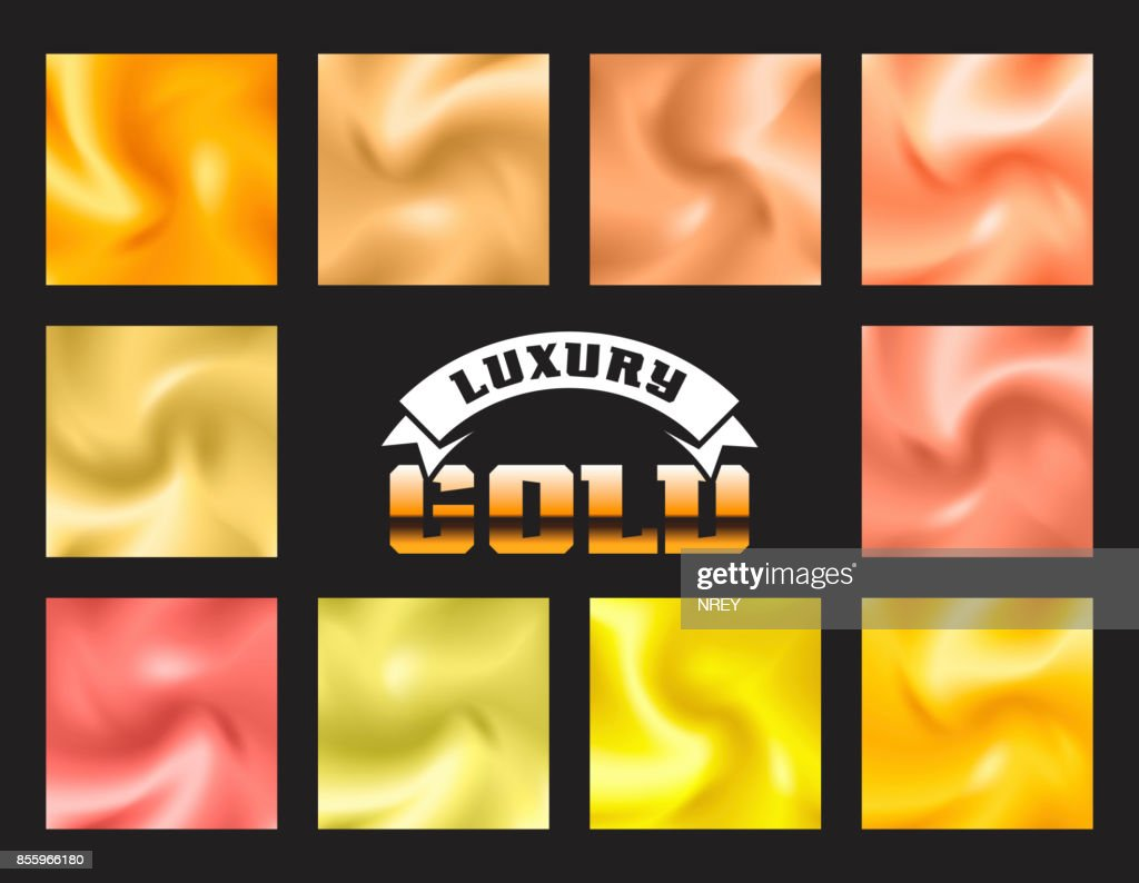 Set of gold pattern background