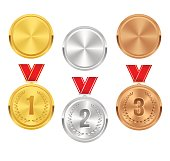 Set of gold, silver and bronze award medals. Vector awards.