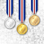 Set of gold, silver and bronze award medals.
