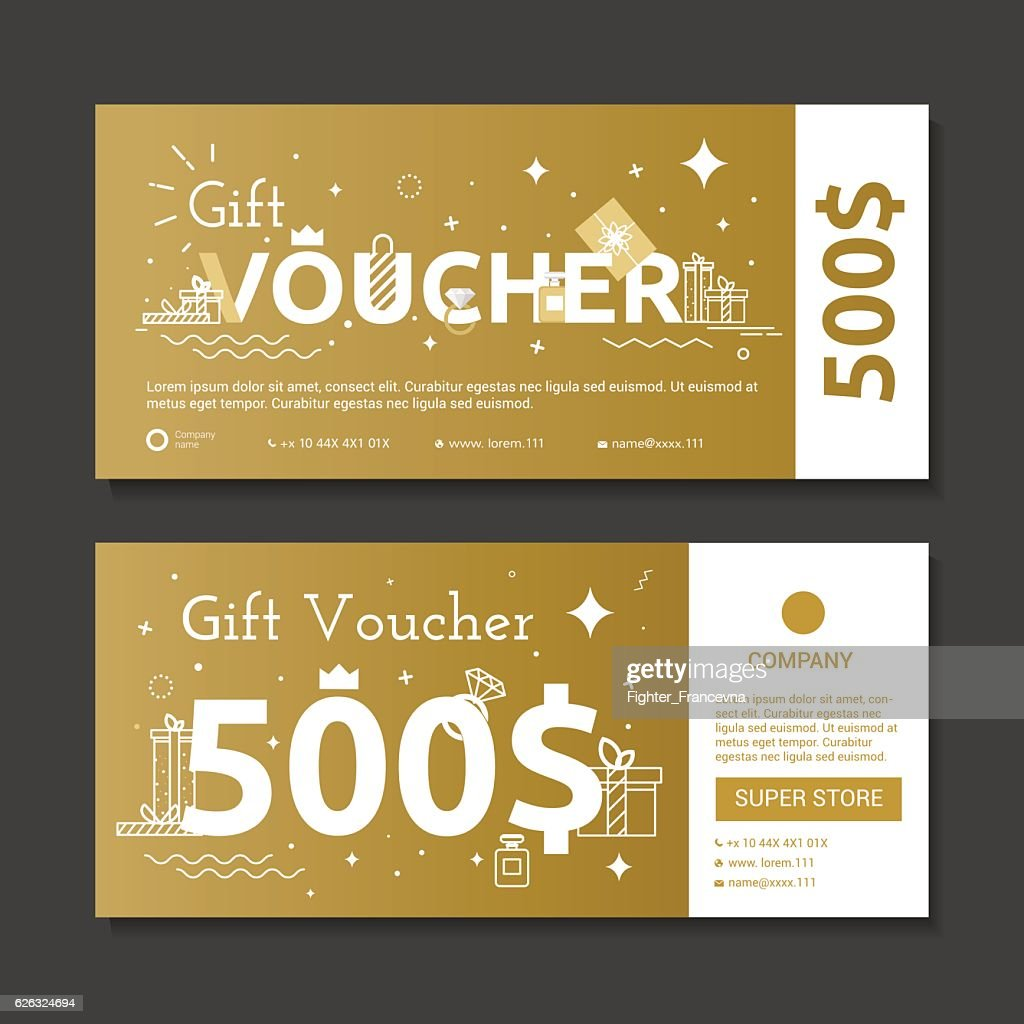 Set of gold voucher.