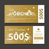 Set of gold voucher.