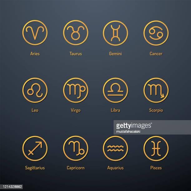 占星術の看板の黄金色のアイコンのセット - 12星座点のイラスト素材/クリップアート素材/マンガ素材/アイコン素材