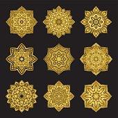 Set of golden mandalas.