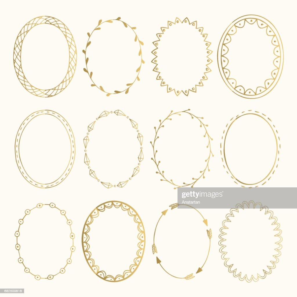 Set of golden oval hand drawn frames. Vector design elements. Fancy illustration. Isolated.