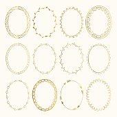 Set of golden oval hand drawn frames. Vector design elements. Fancy illustration. Isolated.
