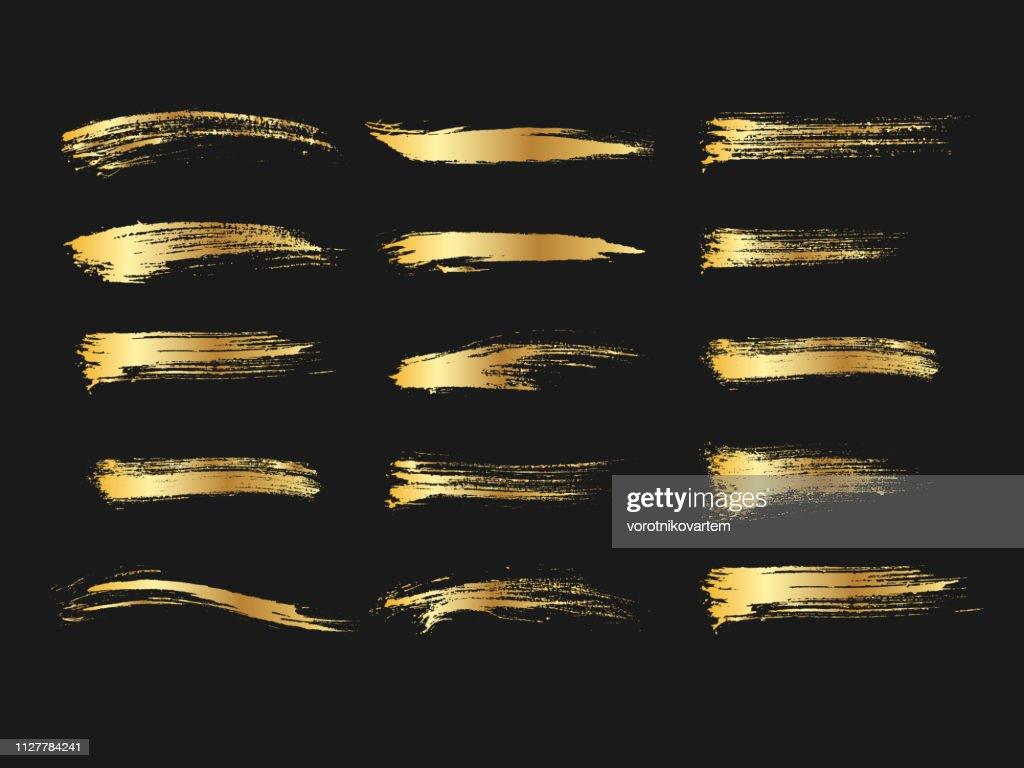 Set of golden paints, metallic gradient brush strokes, brushes, lines. Artistic design elements.