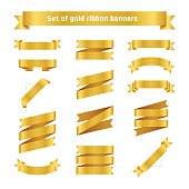 Set of golden ribbon banners. Flat vector gold tape collection.