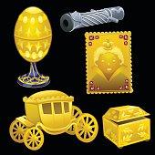 Set of golden Royal items on a black background