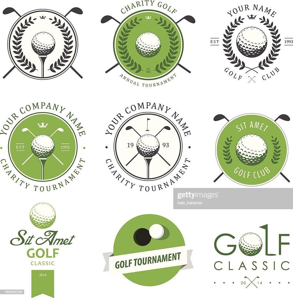 Set of golf club labels and emblems