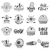 Set of Golf club, Tennis club concept