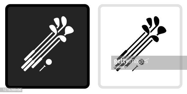 set von golfclubs und ball-icon auf schwarzem knopf mit weißem rollover - golfschläger stock-grafiken, -clipart, -cartoons und -symbole