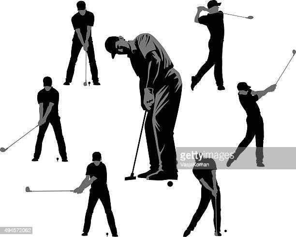 set of golf silhouettes black and gray