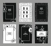 Set of graceful floral banner template design.
