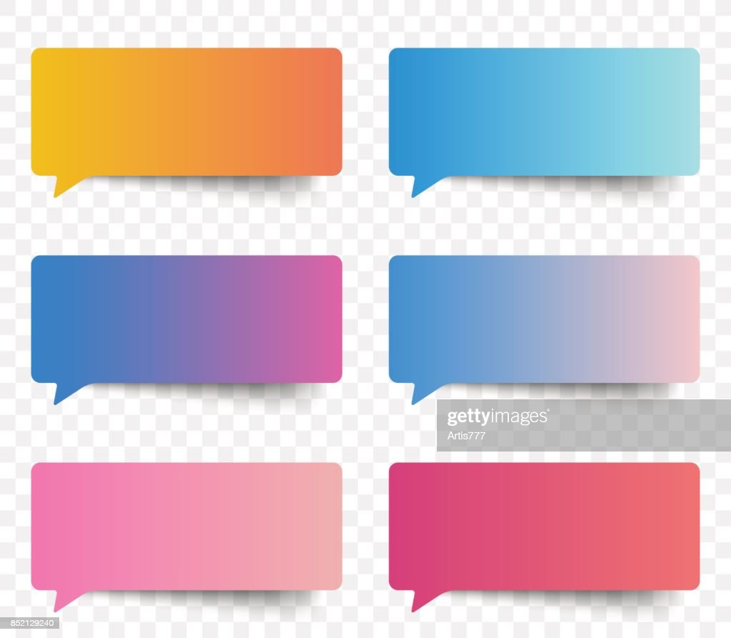 Set of gradient color speech and thought sticker messages, tags conversation element for design. Modern vector illustration.