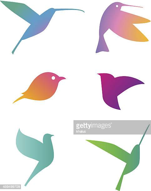 Set of gradient colored bird illustrations
