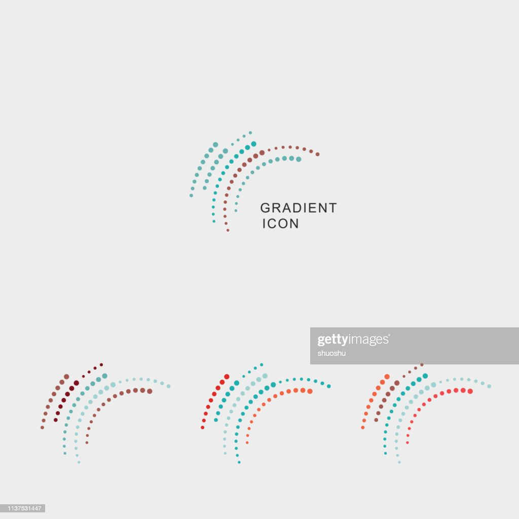 set of gradient curve dots icon : stock illustration