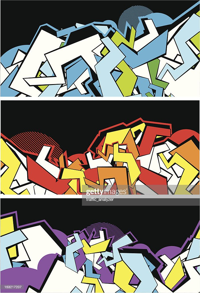 Set of graffiti banners