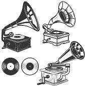 Set of gramophone illustrations on white background. Design elements for label, emblem, sign. Vector illustration