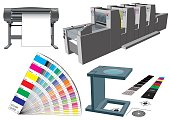 Set of graphic arts tools and machinery for commercial print