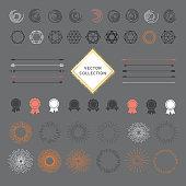 Set of graphic design elements, sunburst, circles, badge icons
