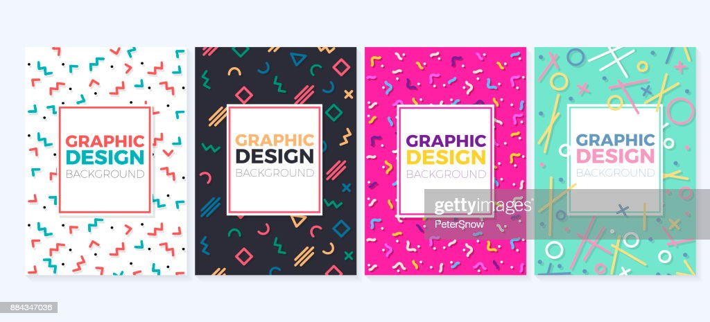 Set of graphic design trendy and geometric backgrounds. Can be used as covers, placards, posters, flyers, banners, business cards, greetings cards, brocures, etc.