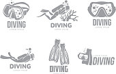 Set of graphic diving templates with divers, mask, flippers
