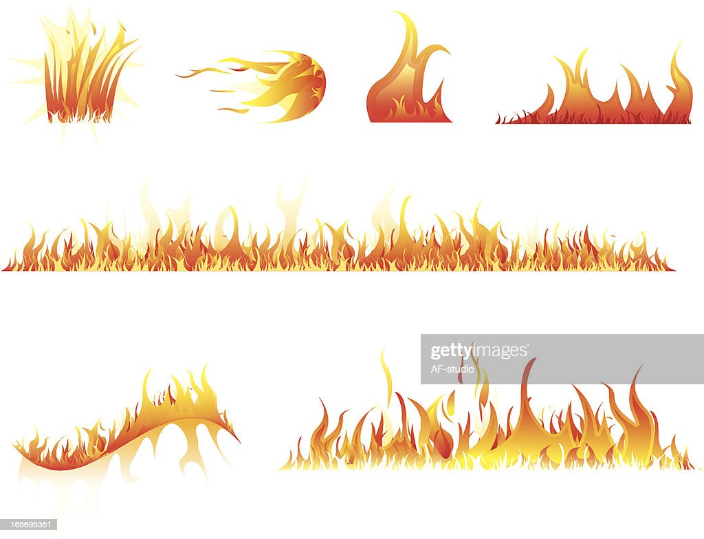 Set of graphic images of flames and fire : stock illustration