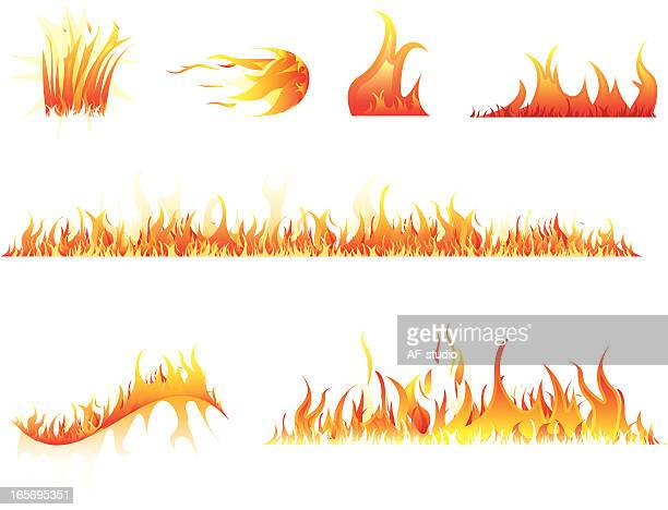 illustrations, cliparts, dessins animés et icônes de ensemble d'éléments du feu - flamme