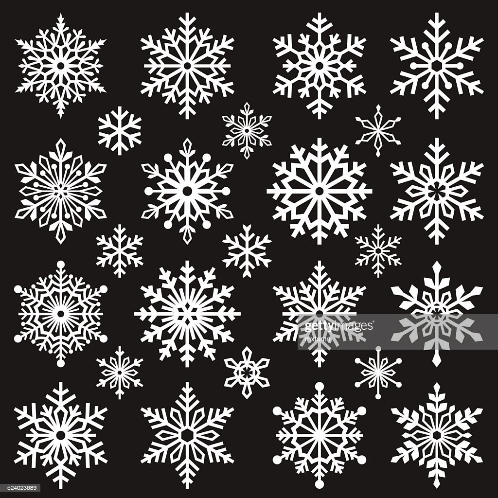 Set of Graphic Snowflakes
