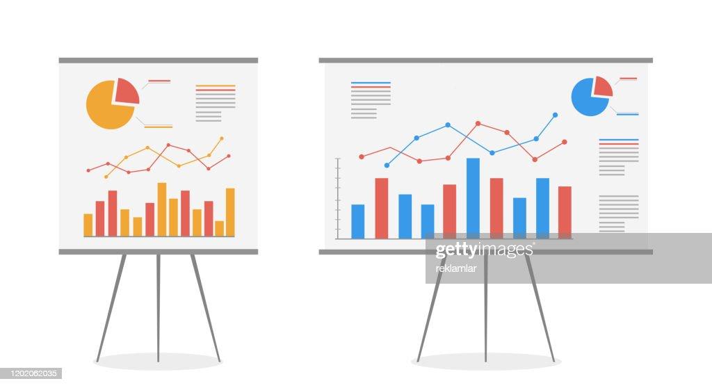Set di grafici sul cartone animato vettoriale della lavagna. Attività di analisi dei dati statistici, vettore. : Illustrazione stock