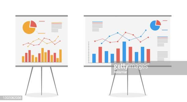 illustrazioni stock, clip art, cartoni animati e icone di tendenza di set of graphs on the whiteboard vector cartoon. statistics data analysis business, vector. - economia