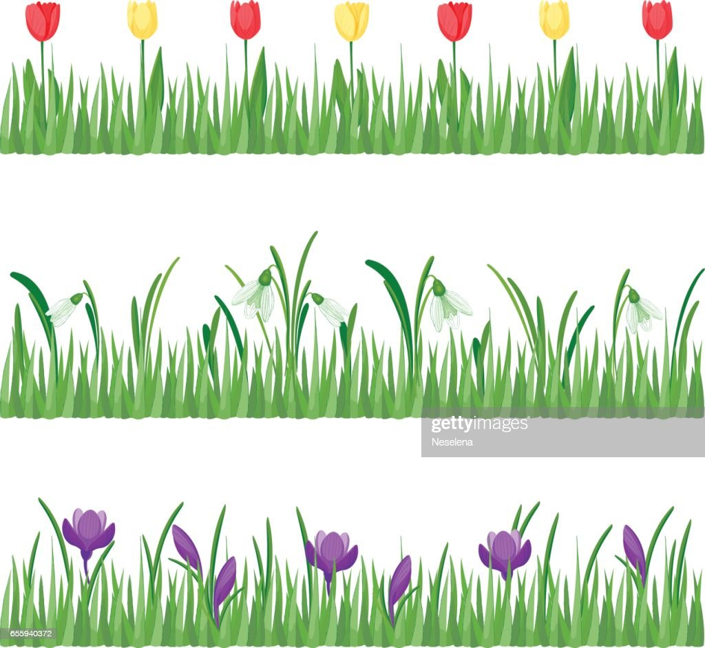 Set of grass with flowers