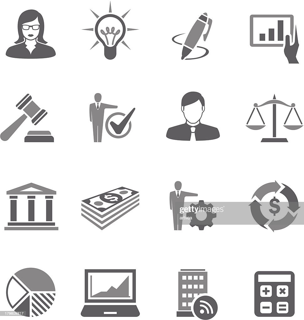 A set of gray business symbols