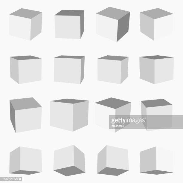 set of gray cube box pattern - point of view stock illustrations