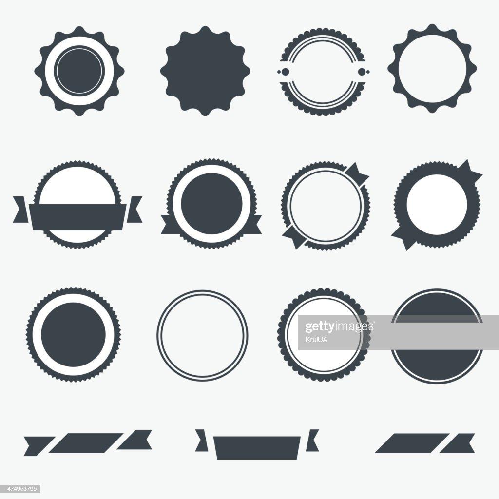 Set of gray empty labels. Vector