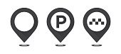 Set of gray map pointers. Map pointer, map parking pointer, map taxi pointer.
