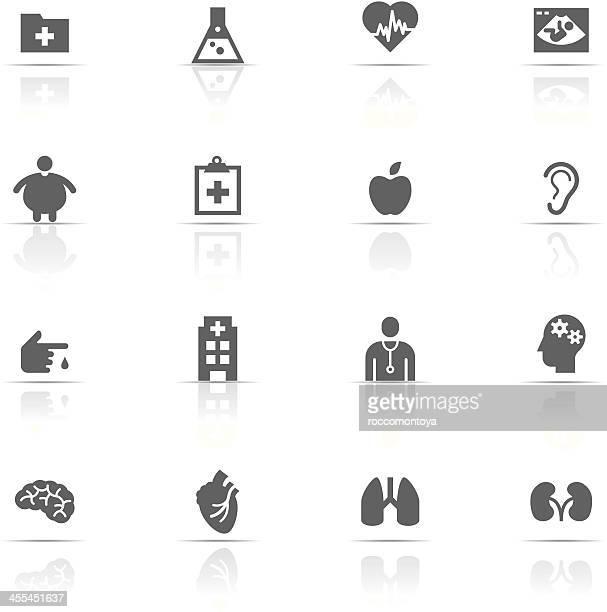 set of gray medical icons isolated on white - obesity icon stock illustrations